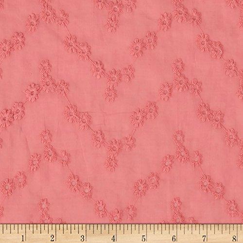 Fabric Cotton Vine Floral Eyelet Coral Pink Yard