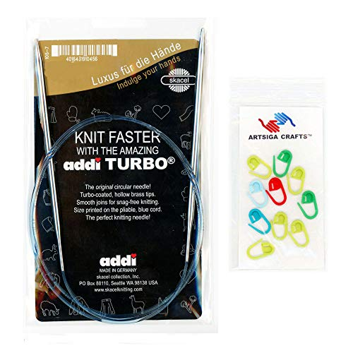 addi Knitting Needle Turbo Circular White-Bronze Blue Cord 16 inch (40cm) Size US 15 (10.0mm) Bundle with 10 Artsiga Crafts Stitch Markers ()