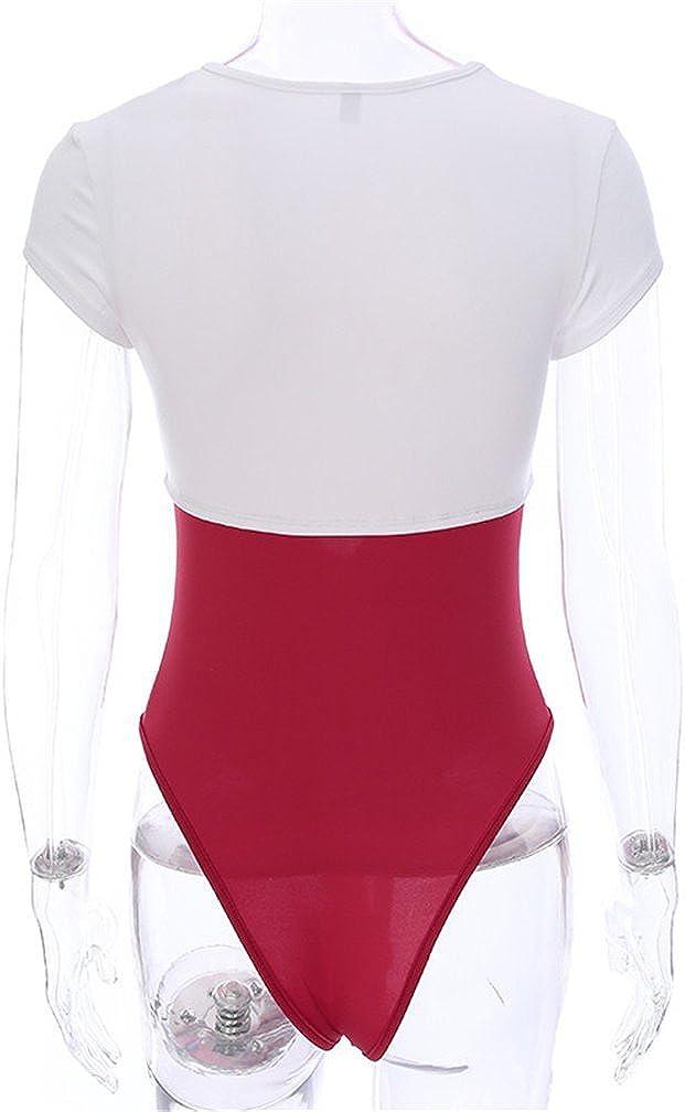 DOLINXH Hollow Out Bodysuit Femme O Neck Skinny Short Sleeve Jumpsuit Romper Cotton