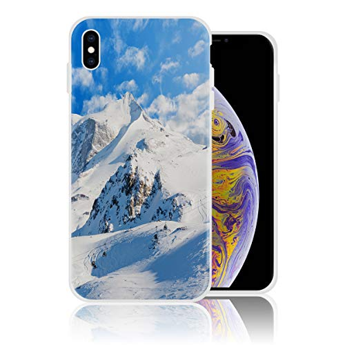 Silicone Case for iPhone X Personalized Design Printed Phone Case Shockproof Full Body Protection Anti-Scratch Drop Protection Cover - View of The Snow Mountain]()