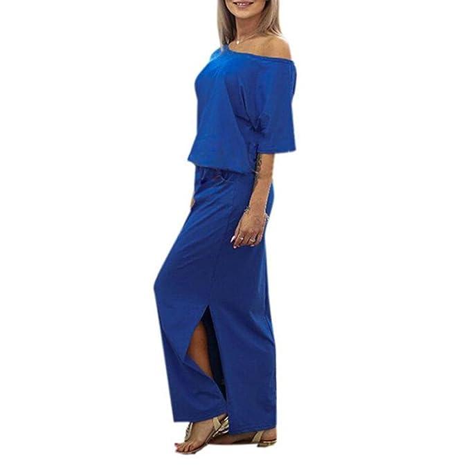 Vestidos para mujer Vovotrade Mujeres largo Maxi BOHO vestido de fiesta de noche con bolsillo (