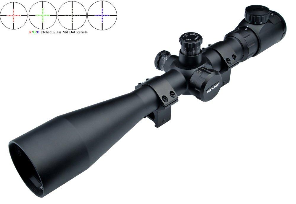 30mm Rouge//Vert//Bleu Verre Dépoli Mil Dot Sniper Riflescope avec Weaver Mounts Eagle Eye Saxon Lunette De Visée Rifle Scope 6-24x50 SF