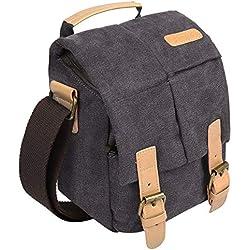 S-ZONE Vintage Waterproof Canvas Leather Trim DSLR SLR Shockproof Camera Shoulder Messenger Bag (Medium, Grey)