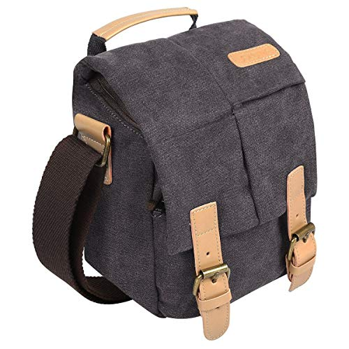 S-ZONE Vintage Waterproof Canvas Leather Trim DSLR SLR Shockproof Camera Shoulder Messenger Bag (Medium, Grey)