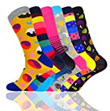 Funky Colorful Novelty Cool Men Socks-WEILAI SOCKS Combed Cotton Causal Dress Crew Socks 6 Pack (Multicolored-2)
