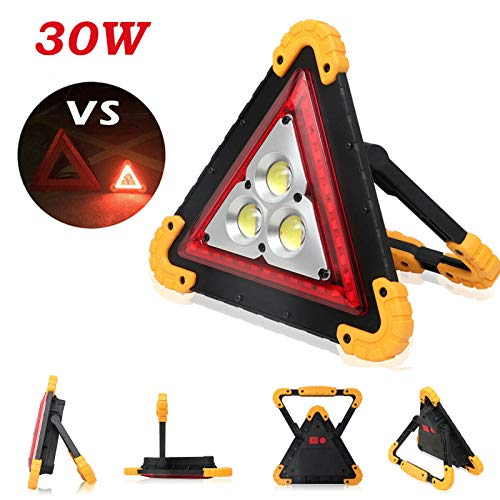 DICN Warning Triangle, LED Work Light Rechargeable with Power Bank Function, Red Hazard Light Super Bright Floodlight Multi-Purpose Portable 30W + USB Cable for Car Repair Camping Hiking