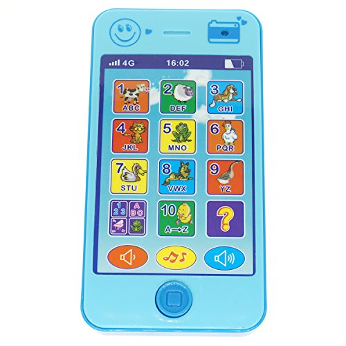 Cooplay Blue Toy Cell Phone Music Touch Screen Mobile Childy Early Education Learning ABC Letters Play Piano Animal Cellphone for Baby Kids Sets of 1