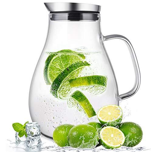 susteas Jarra de Vidrio de 2,0 litros con Tapa Jarra de te Helado Jarra de Agua Agua fria fria Hielo Te Vino Cafe Leche y Jugo Bebida Jarra