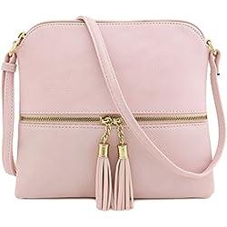Tassel Accent Medium Crossbody Bag Blush
