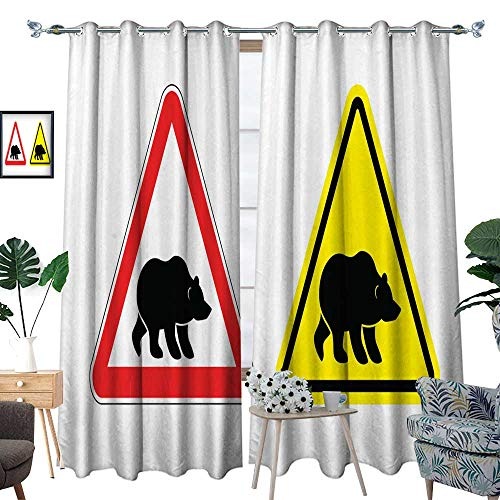 homehot Drapes Panels Attention Bear Warning Sign Hazard Yellow Sign Grizzly Silhoue W120 x L84 Drapes from homehot