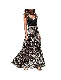 Lavany Women's Summer Skirts Leopard Print Drawstring Pleated High Waist Maxi Skirt