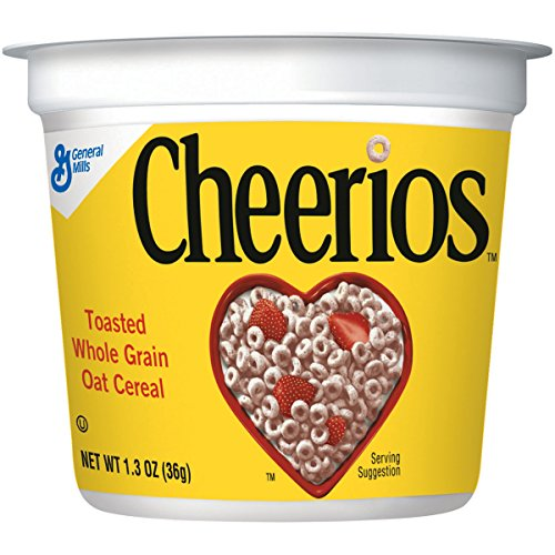 : Cheerios Cereal Cup, Gluten Free Cereal, 1.3 oz (Pack of 12)