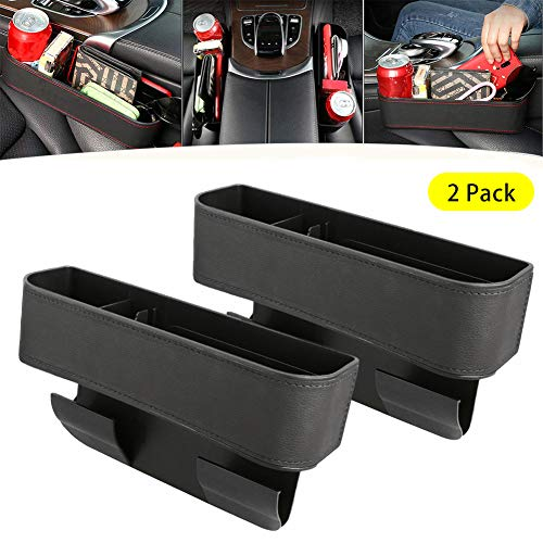 Kriszon 2PCS Car Seat Gap Storage Box Seat Gap Filler with Cup Holder,Premium PU Leather Console Side Filler Organizer Pocket for Car Accessories Interior, Holding Phone, Wallet, Cup Holder Black