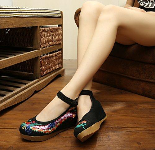 WXT Zapatos bordados, lino, lenguado del tendón, estilo étnico, zapatos femeninos aumentados, manera, cómodo, ocasional Black