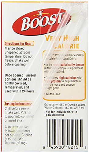Boost VHC Very High Calorie Complete Nutritional Drink, Very Vanilla, 8 fl oz Box, 102 Pack (102 Pack)