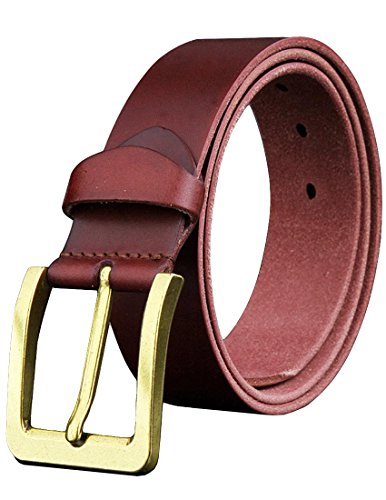 Nidicus Men's Handmade Classic Single Prong Metal Buckle Genuine Leather Belt Wine (Belt Wine)