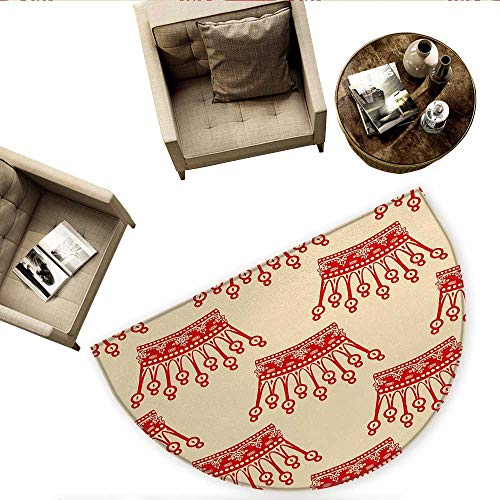 (Queen Semicircular CushionCrowns Pattern in Red Vintage Design Coronation Imperial Kingdom Nobility Theme Entry Door Mat H 74.8