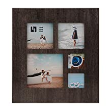 BorderTrends Taylor Multi Opening Wood Collage Photo Frame, Dark Grey