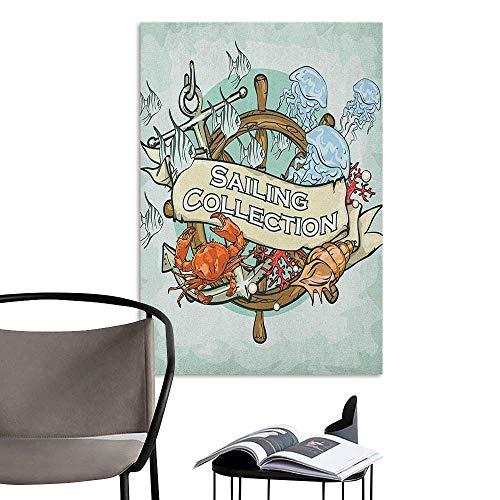 Self Adhesive Wallpaper for Home Bedroom Decor Nautical Sailing Collection Old Times Fisherman Ribbon Fishing Sea Food Crab Mint Green Multicolor Corridor Walkway Wall W16 x H20 ()
