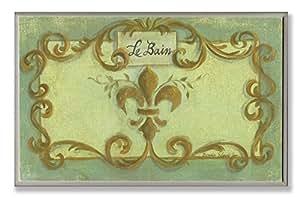 The Stupell Home Decor Collection Le Bain Green and Gold Fleur De Lis Crest Bathroom Wall Plaque