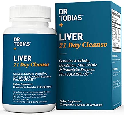 Dr Tobias Liver 21 Day Cleanse - Solarplast, Milk Thistle (Silymarin), Artichoke, Dandelion & Proteolytic Enzymes Supplement