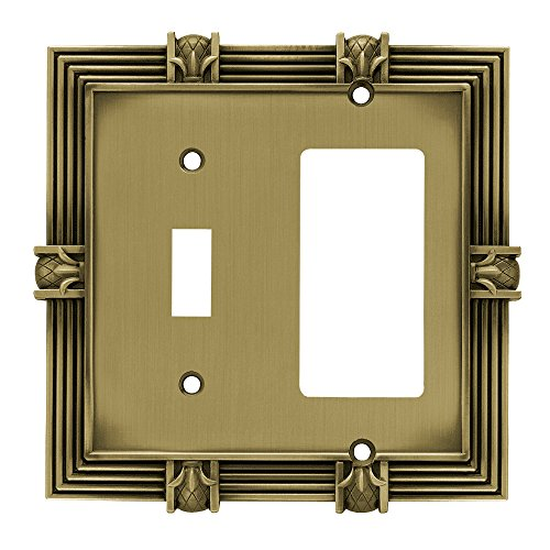 Antique Brass Pineapple (Franklin Brass 64476 Pineapple Single Toggle Switch/Decorator Wall Plate / Switch Plate / Cover, Tumbled Antique Brass)