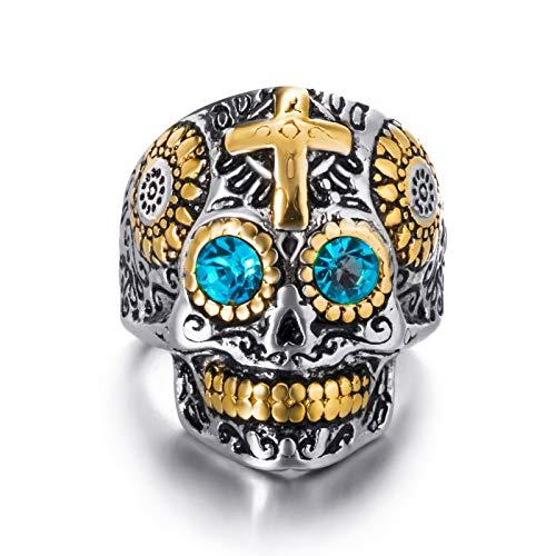 Elfasio Mens Stainless Steel Ring Skull Cross Blue Eye Silver Gold Biker Jewelry Size 10