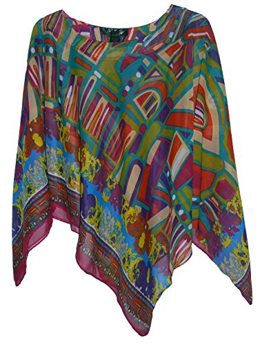 Chiffon Poncho Cover - Chiffon Casual Poncho in Variety of Prints, One Size for XS-XL, Style#PN-02 (Modern Greco)