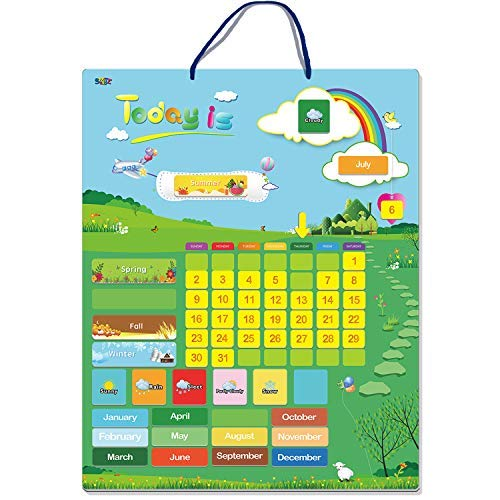 Calendario magnético de aprendizaje con estación meteorológica 55 piezas (15' x 12' montaje en pared listo)