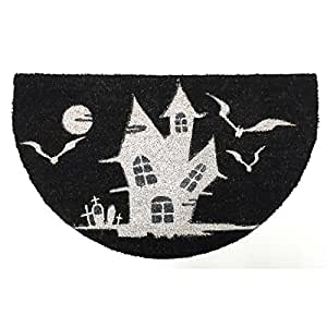 "Durable and Stylish Halloween Haunted House Diecut Doormat, Black and White, 23"" x 30"""