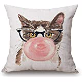 "JES&MEDIS Cute Cat Theme Pillow Case Linen Cotton Home Sofa Decorative Cushion Throw Pillow Cover Square,18"" x 18"""