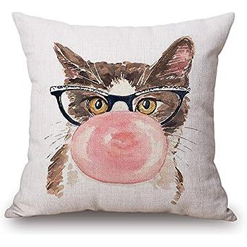 JES&MEDIS Cute Cat Theme Pillow Case Linen Cotton Home Sofa Decorative Cushion Throw Pillow Cover Square,18