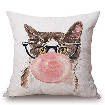 Amazon.com: Jes & Medis – Cute Cat Cojín (Lino y Algodón ...