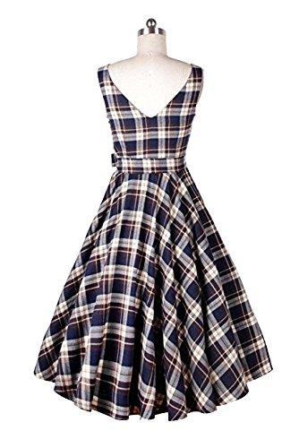 Babyonlinedress Vestido a cuadrados de estilo retro y casual cuello horizontal sin mangas con un cinturón de lazo vestido trapecio y plisado Azul