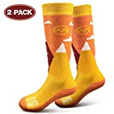 OutdoorMaster Kids Ski Socks - Merino Wool Breathable Blend, Over The Calf (OTC) with Non-slip Cuff, Sizes 7-11.5 - 12-4 - for Boys and Girls (XS, Carrot Orange - 2 Pack)