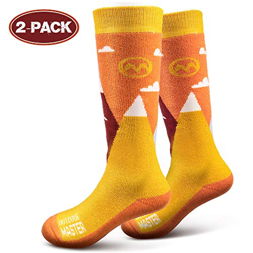 OutdoorMaster Kids Ski Socks - Merino Wool Breathable Blend, Over The Calf (OTC) with Non-slip Cuff, Sizes 7-11.5 - 12-4 - for Boys and Girls (S, Carrot Orange - 2 Pack)
