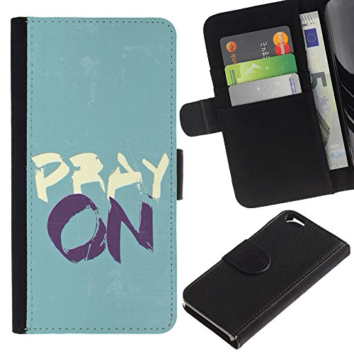 OMEGA Case / Apple Iphone 6 4.7 / PRAY ON / Cuir PU Portefeuille Coverture Shell Armure Coque Coq Cas Etui Housse Case Cover Wallet Credit Card