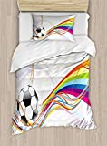 Fantasy Star Soccer Duvet Cover Set,Rainbow Patterned Swirled Lines Abstract Football Pattern Colorful Stripes Design,Include 1 Flat Sheet 1 Duvet Cover and 2 Pillow Cases