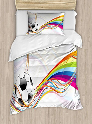 Fantasy Star Soccer Duvet Cover Set,Rainbow Patterned Swirled Lines Abstract Football Pattern Colorful Stripes Design,Include 1 Flat Sheet 1 Duvet Cover and 2 Pillow Cases by Fantasy Star