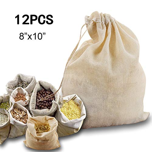 Windpnn 12Pack Reusable Natural Cotton Soup Bags, Drawstring Cheesecloth Bags, Spice Bags for Cooking Coffee Tea(8x10 inches)