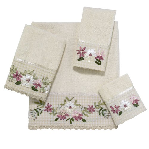 Avanti Linens Victoria   Embroidered 4-Piece Decorative Towel Set Ivory