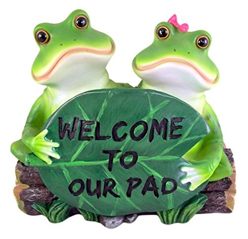Statue Sign (Side by Side Frogs Holding Sign Statue 8 Inch)