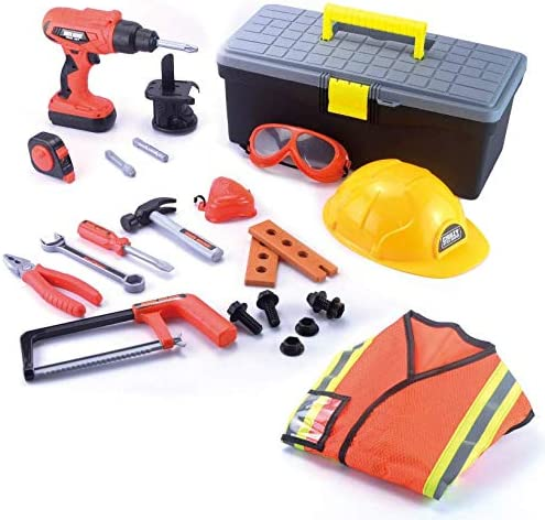 JOYIN Construction Worker Costume Role Play Tool Toys Set with Toll Box for three - 6 Years Old Kids, Great Educational Toy Gift for Halloween Christmas and Birthday