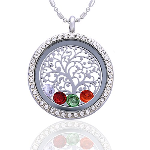 Nana Charm Pendant Jewelry (Family Tree of Life Birthstone Necklace Jewelry - Gifts for Mom Floating Charm Living Memory Lockets Pendant)