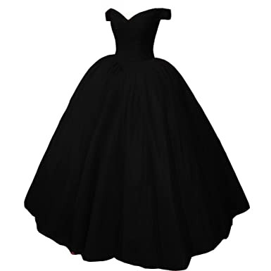 Kivary Heavy Beaded Off Shoulder Long Prom Dresses Formal Quinceanera Evening Ball Gown Black US 2