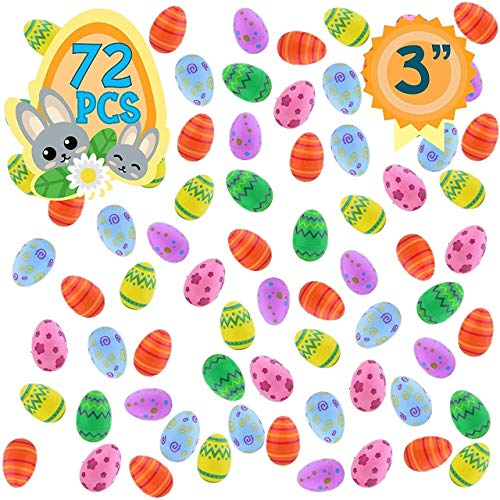 72 Plastic Fillable Easter Eggs with Bright Colors and Patterns - Ready to Fill and Hide with These Reusable Easter Eggs - Perfect for Easter Baskets, Party Favors, and Easter -