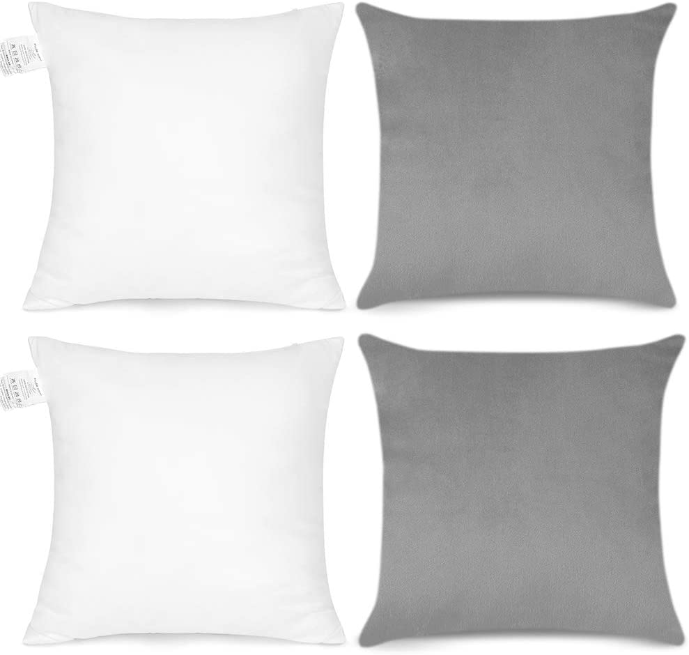 OTOSTAR Set of 2 Super Soft Velvet Decorative Throw Pillows with Pillow Inserts Modern in-Outdoor Cushion Pillows for Home Couch Sofa Bedroom Car Decor 18 x 18 Inch (Elegant Gray)