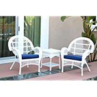 Jeco W00209-C_2-CES011 3 Piece Santa Maria Wicker Chair Set with Blue Cushions, White