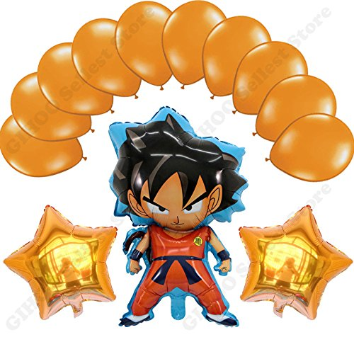 Son Goku Balloons Birthday Party Decoration 13 Pieces (Gold)