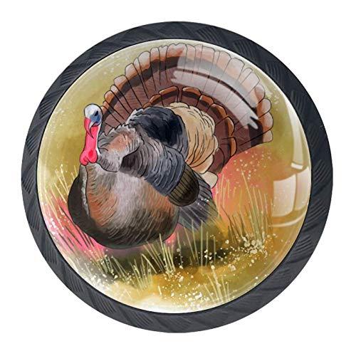 (Idealiy Wild Turkey Bird Cabinet Dresser Drawer Knobs Glass Pull Handle for Cabinet Door Wardrobe Cupboard)